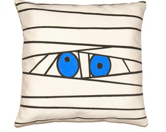 """Halloween Mummy Pillow Cover in Neon Blue, Black on Off White Cotton Canvas - 12""""x16"""" (30x40cm), 12""""x20"""" (30x50), 16""""x16"""" (40x40cm)"""