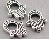 Hamsa Hand Charms Beads Antique Silver tone 8pcs base metal beads 12X15mm BD0036S