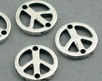 Peace Sign Links Charms Antique Silver 8pcs base metal 13mm CM0275S