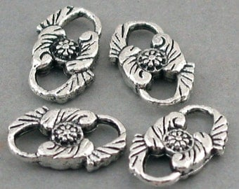 Flower Charms Links Antique Silver 8pcs base metal 10X16mm CM0296S