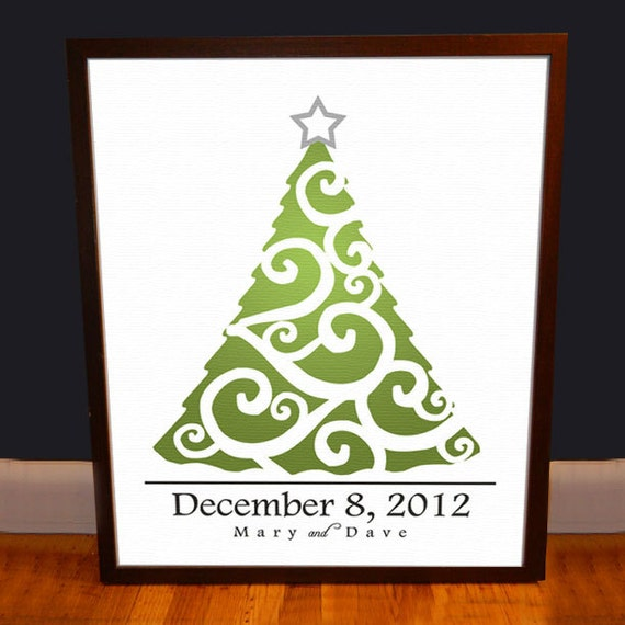 Christmas Wedding Guest book Tree - Personalized  - 24x36 - 300 Signatures  - Archival Quality Print
