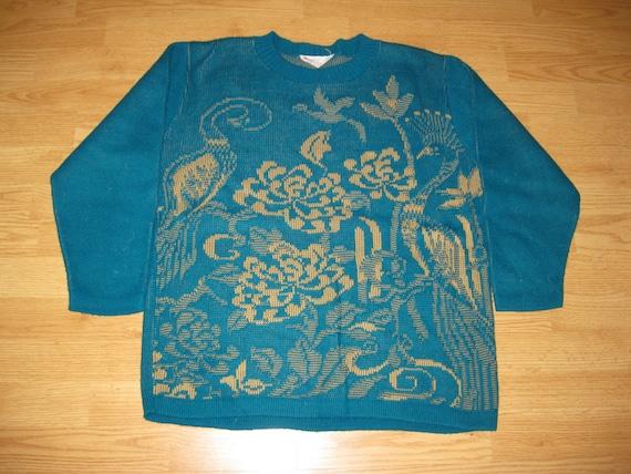 Vintage 1970s Animal Floral Print Crewneck Sweater