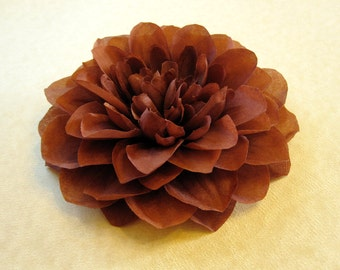 Fabric Flower Hair Accessory: Pin, Hair Clip, or Fascinator - Chocolate Brown Dahlia - Large