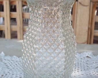 Hoosier Glass  Pineapple   Diamond Point Pattern Vase  4071