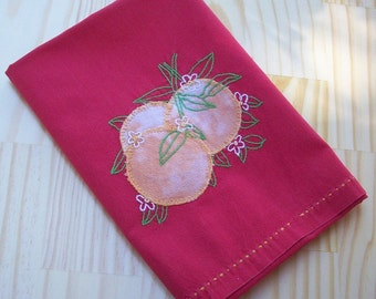 Mid Century Hand Stitched Linen  ~  Red with Oranges Table Scarf  ~  Vintage Table Scarf