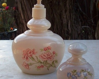 Avon Candid Lotion Dispenser with Pink Carnations and Avon Candid Perfume Bottle with Chapel Bell's Floral Pattern