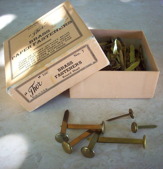 """Vintage """"Thor"""" Brass Paper Fasteners Round Head 1"""" ,  1 1/2""""  and  2""""  Vintage Office Supply"""