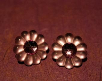 80s Vintage Purple Flower Power Clip Earrings