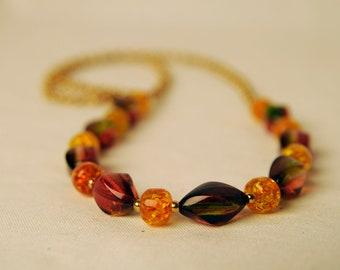 70s Vintage Autumn Colours Beads on Chain Necklace