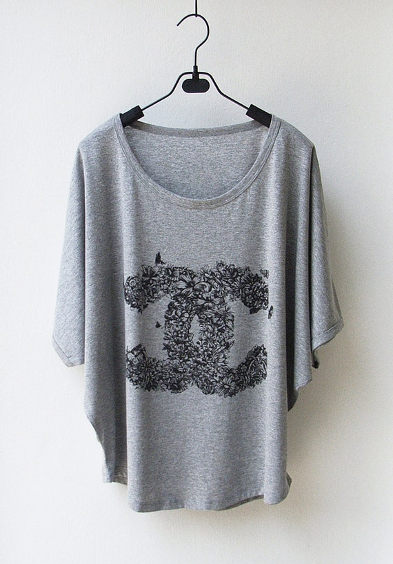 LAST ONE CC Floral - Tank Top Oversize Shirt Batwing in grey