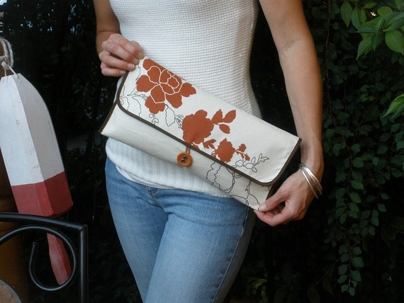 Elegant Cayenne and Ivory Clutch Purse
