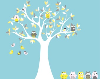 children tree decal - Nursery wall decal - Owl tree - Vinyl tree - 5 Free owls