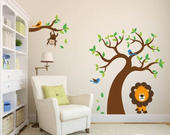 nursery wall art decal tree and tree branch set with lion and birds
