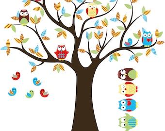 Kids Tree decal-  Nursery tree- Vinyl tree decal- Owl tree 5 Free owls
