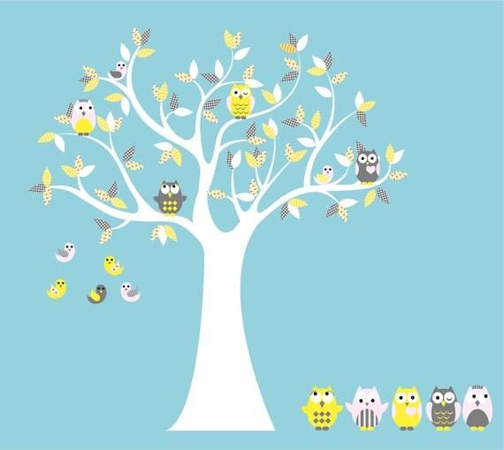 Ähnliche artikel wie kidsbaum mit 4 eulen 7 vögel und