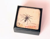 25% OFF / Creepy Black Spider - Square Wood Box