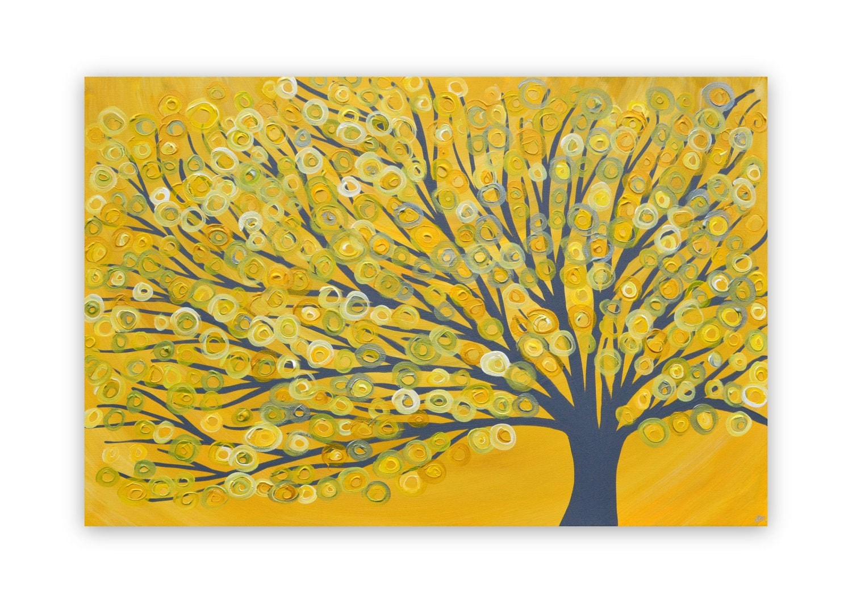 Yellow Grey Tree Painting
