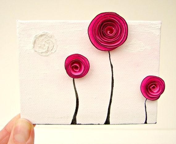 Fusia Pink Paper Flower Rosette Art-Mixed Media Artwork-Wall Decor for Nursery Art, Baby's Room, Anniversary for Her