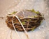 RESERVED FOR SARAH W 2 Flower Girl Baskets Bird Nest Basket Handwoven with Finger Hold Side Handle.Custom Order