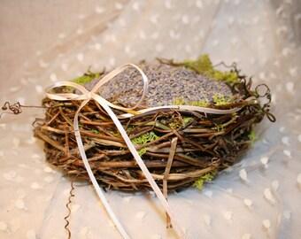Flower Girl Basket/ Bird Nest Basket Handwoven with Finger Hold Side Handle -CUSTOM MADE to ORDER for Woodland,Garden or Rustic Wedding