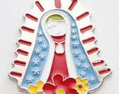 SALE THREE Virgencita Plis Cuidame Large Colored Charms- Virgin Mary / Our Lady of Guadalupe / Virgen Maria