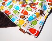 SALE owl baby blanket minky autumn corduroy anne kelle