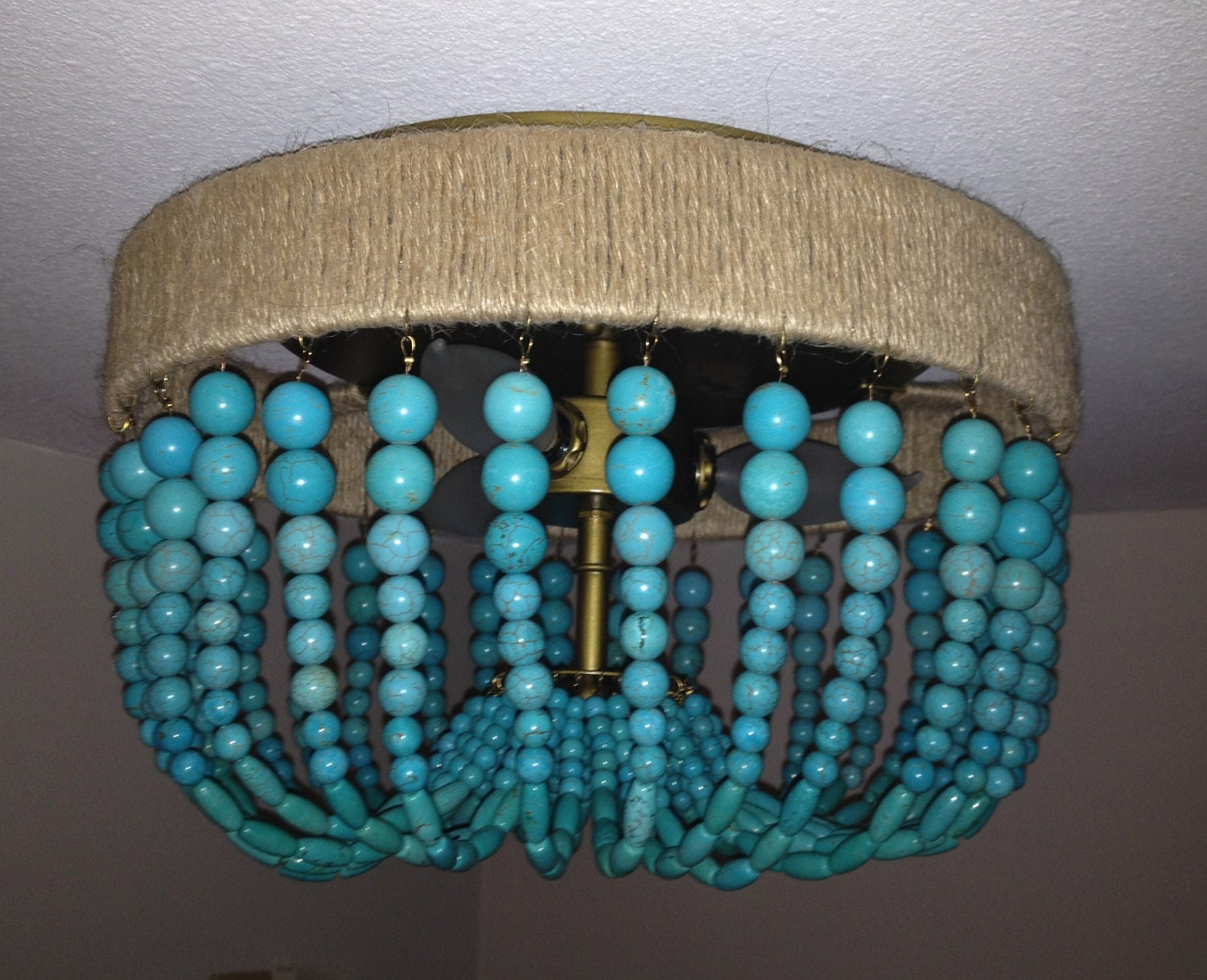 turquoise beaded light fixture flush mount by blithehome