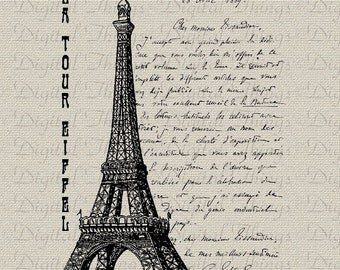 French Eiffel Tower Script Calligraphy Digital Download for Iron on Transfer Vintage Fabric Pillows Tea Towels DT425