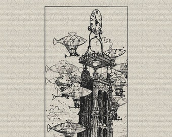 French Steampunk Airship Paris Clock Tower Wall Decor Art Printable Digital Download for Iron on Transfer Fabric Pillows Tea Towel DT376