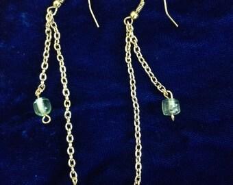 Dangle Earrings/ Dangle Green ,Glass, Beaded Earrings