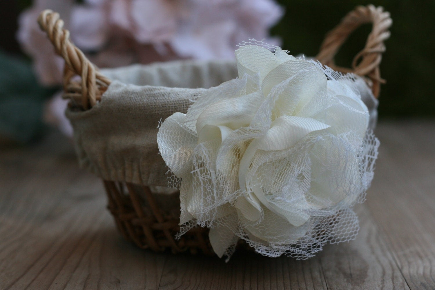 Rustic Burlap Flower Girl Baskets : Rustic burlap flower girl basket wedding by