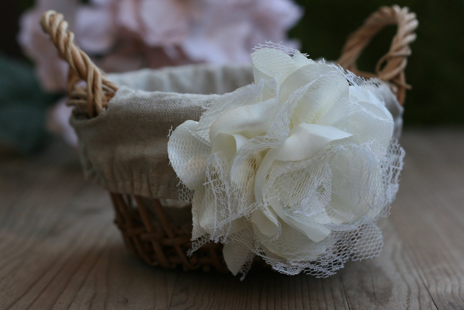 Flower Girl Baskets Burlap : Rustic burlap flower girl basket wedding by