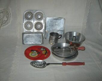 Tin Toy Baking Pans Dishes Mixing Utensils Lot Tin Toys