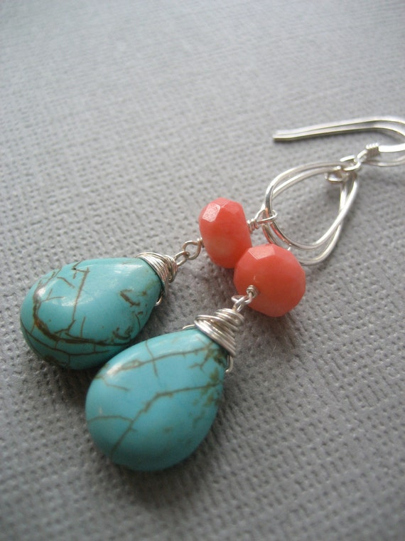 Turquoise Earrings with Pink Coral Rondelles (D74)