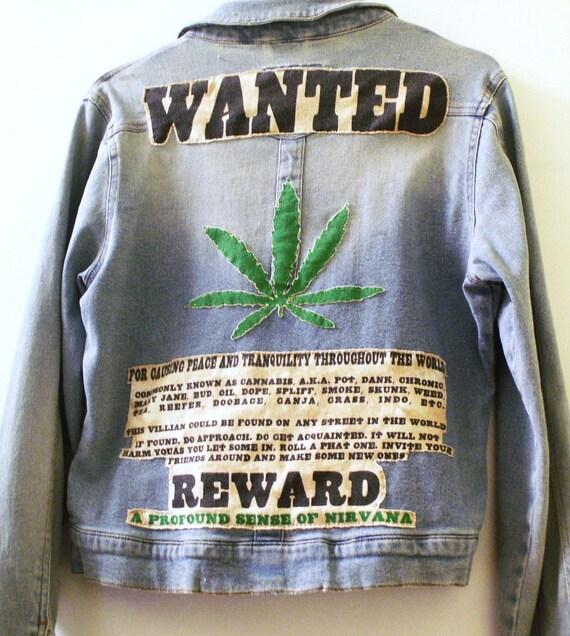Marijuana Leaf Upcycled Denim Jacket 420