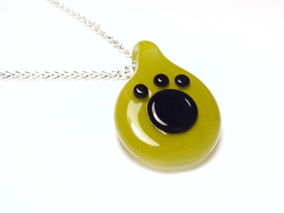 Glass Paw Print Pendant - Chartreuse Green and Black
