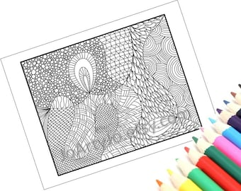 Zendoodle Instant Download Coloring Page, Zentangle Inspired Printable- Page 4