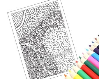 Coloring Page, Printable Zentangle Inspired PDF Zendoodle Pattern, Page 18