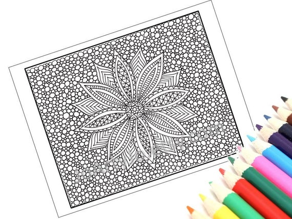 Zentangle Inspired Printable Coloring Page, Zendoodle Flower, Page 10