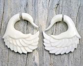 Fake Gauges Earrings Bone Earrings Swan White Tribal Earrings - FG049 B G1