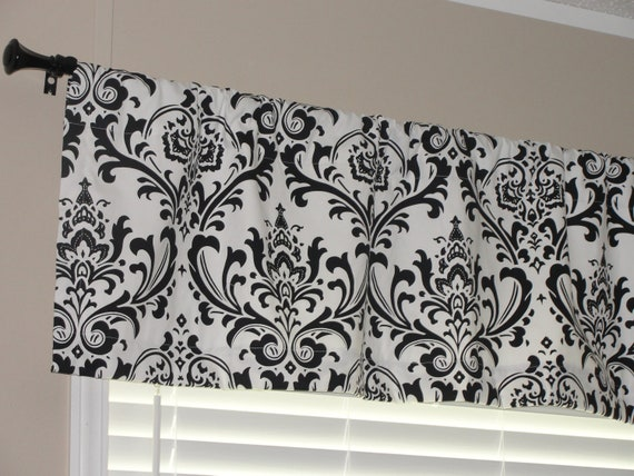 "Premier Prints Black and White Damask Valance 50"" wide x 16"" long Lined or Unlined"