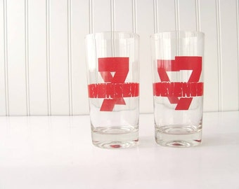 Mid Century Red Seven Glasses Highball Typography