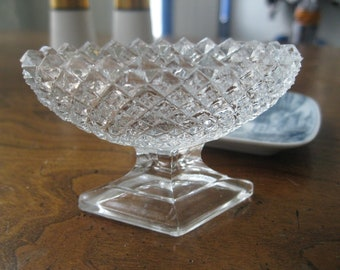 Fancy Footed Open Salt Cellar, Diamond Cut Glass, Tiny dish, Dip Bowl, Elegant Dining, Dinner Table, Jam Dish, circa 1940