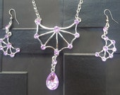 Sale Cool Large Spider Web Pendant with Lilac Crystals & Matching Earrings Gothic Steampunk Emo Punk