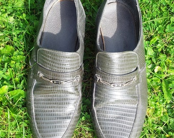 Vintage 80s Grey Snake Skin Style Leather Mens Loafers Slip on Shoes