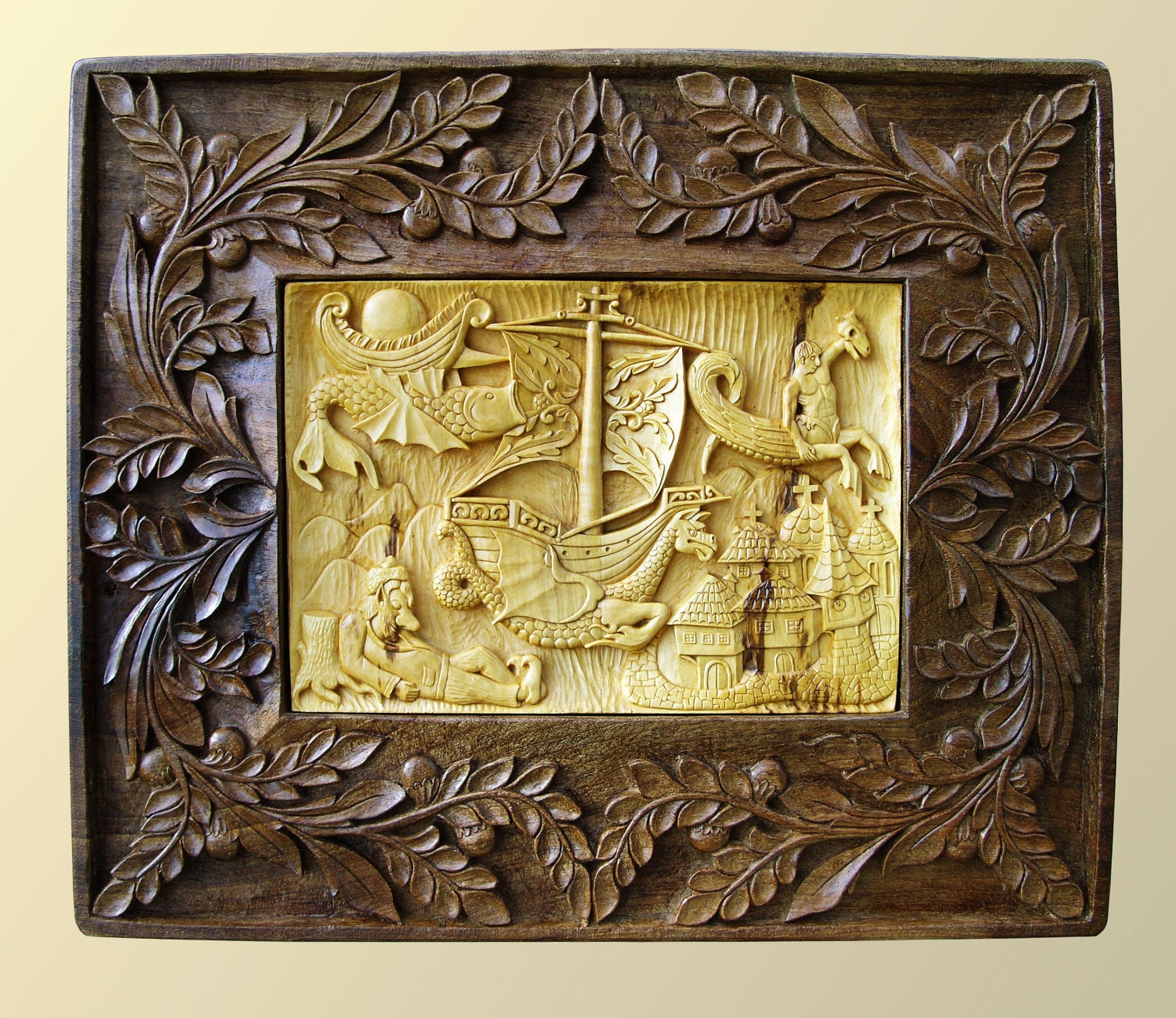 Wall art wood carving dream dragon sculpture by