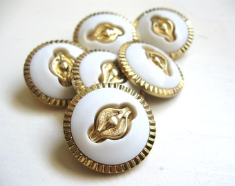 White and Gold buttons set of six