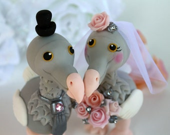 "Love bird DODO cake topper with banner, bride and groom more than 4"" tall"