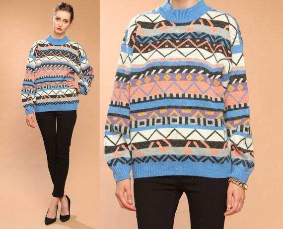 triangle geometric sweater // vintage 80s // zig zag // pastel graphic print // high neckline // medium