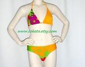 Multicolored bikini, Halter top bikini / swimsuit / large